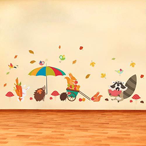 A finales de otoño ardilla erizo pájaros pegatinas de pared para ...