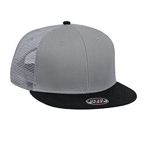 Otto Caps Superior Cotton Twill Flat Visor Snapback Solid and Two Tone Color Pro Style Mesh Back Cap