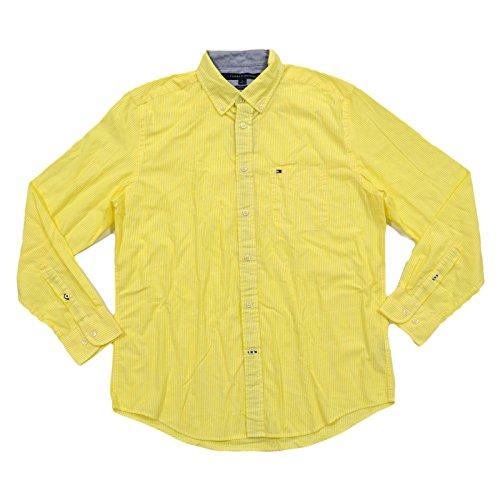 Tommy Hilfiger Mens Classic Fit Buttondown Shirt (Medium, Yellow)