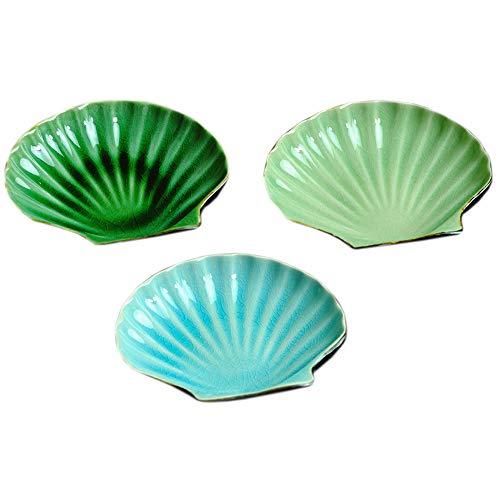 WishToBuy 3pcs Ceramic Shell Shape Soy Sauce Dipping Bowls Side Dishes For Snack Sushi Fruit Appetizer Dessert. 5.5