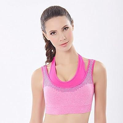 Qosow soutien-gorge de sport respirant yoga fitness running pas de bagues en acier loisirs transparente bra respirante à séchage rapide de rouge