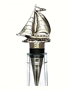 PlaceTile Designs BSSAIL Sailboat Bottle Stopper, Pewter