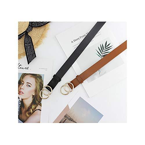 WERFORU 2 Packungen Damen Ledergürtel Kunstleder Taillengürtel mit doppelter O-Ring-Schnalle
