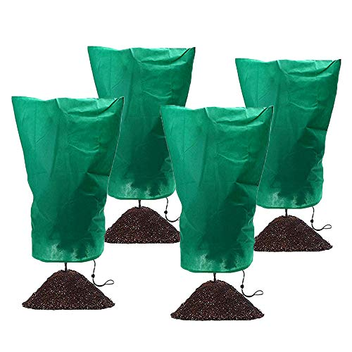 JAPI Plant Covers Freeze Protection, Frost Tree Cover Bags for Winter Outdoor Plants,Frost Cloth Blanket Protecting Fruit Tree in Cold Weather (4Pack)