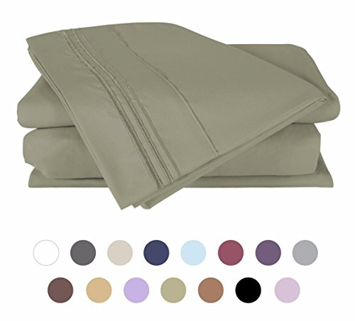 Bed Sheets Set (King - Olive Green), DUCK & GOOSE CO.100% Double Brushed Softest 4pcs 1800 Microfiber Hypoallergenic Bedding Set, Wrinkle, Fade, Stain Resistant - King Fitted Sheet Olive