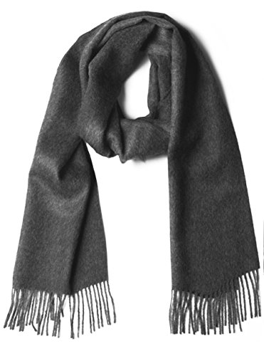 100% Pure Baby Alpaca Scarf - Bright Happy Solid & Natural Dye Free Colors (Charcoal) ()