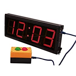 EU 4 4 Digits LED Countdown&CountUP Stopwatch And Clock Red Color Hours Minutes Remote (Red+Key Box)