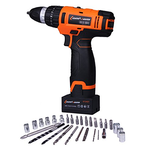 Lomvum LY-8724ST 24-Volt MAX Lithium-Ion Compact Cordless Hammer Driver-Drill Kit with Screwdriver Bit Sets(1 Battery)