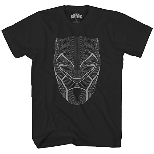 Marvel Black Panther Glow in The Dark Linear Mask Avengers Super Hero Adult Graphic Men's T-Shirt
