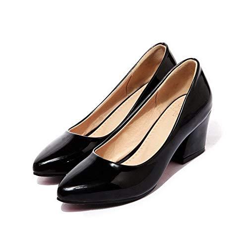 Unie à Chaussures Légeres Verni AalarDom Talon Couleur TSFDH005678 Tire Correct Noir Femme qtX868Bw