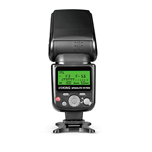 Voking VK750III Remote TTL Speedlite Slave Mode Flash with LCD Display for Canon DSLR Standard Hot Shoe Cameras