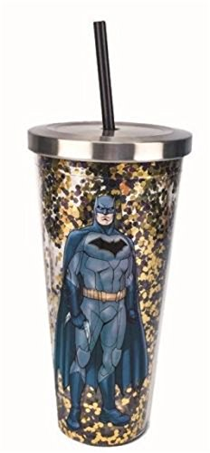 Spoontiques 21303 Batman Glitter Cup With Straw, Gold ()