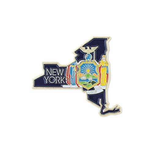 (Forge New York State Shape Outline and New York State Flag Lapel Pin - Bulk Value Pack Available! (1)