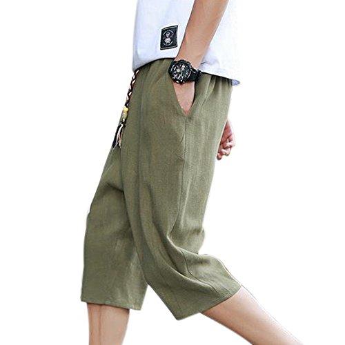 Manka Vesa Mens Casual Summer Cotton Linen Elastic Waistband Beach Shorts Lounge Pants ()
