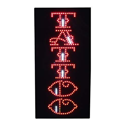 (LED Tattoo Piercing Open Sign Super Bright Flashing Animated Light Sign for Body Jewelry Art Business Shop Store Window Decor 24 x 12 inches)