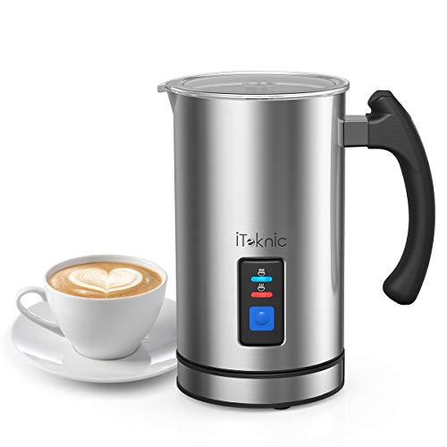 iTeknic Milk Frother, Electric Milk Steamer and Frother Stainless Steel, Automatic Foam Maker For Coffee, Latte…