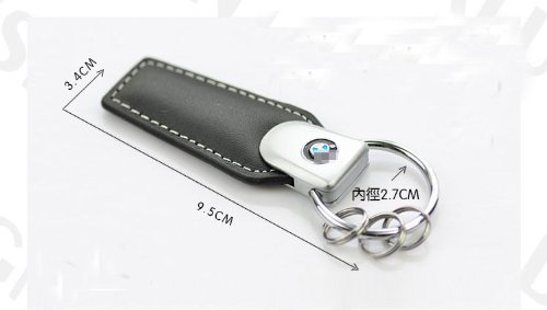 BMW Logo Black Genuine Leather Strap Keychain Ring