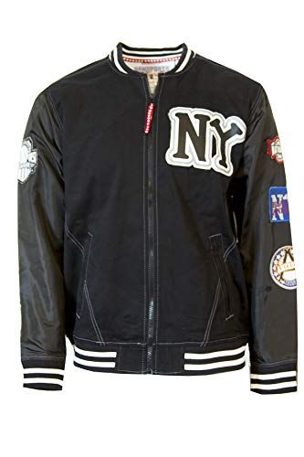 Negro League Baseball Jackets - Negro League Men's Black Yankees Twill Bomber Front Zip Jacket, M