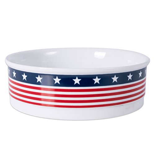 DII Bone Dry Patriotic Ceramic Pet Bowl for Food & Water with Non-Skid Silicone Rim for Dogs and Cats (Large - 7.5