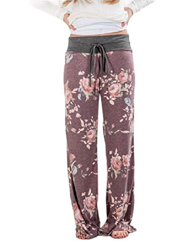 Abetteric Womens Stretch Floral Print Drawstring Lounger Wide Leg Pants Purple S