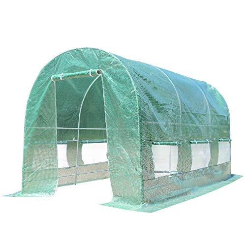 Giantex Portable Walk in Greenhouse Plant Grow Tents Steel Frame Garden Backyard Outdoor Gardening Green House w/ 6 Windows & Doors (11.5'X 6.5'X6.5')