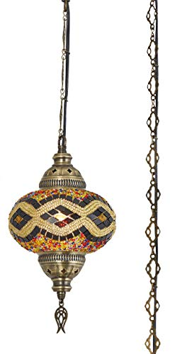 DEMMEX 2019 Hardwired or Swag Plug in Turkish Moroccan Mosaic Ceiling Hanging Light Lamp Chandelier Pendant Fixture Lantern, Hardwired OR Plug in with 15feet Cord & Chain (PlugIn14)