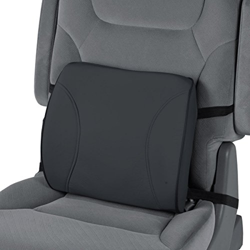 MotorTrend Lumbar Back Support - Portable Orthopedic Lumbar Back Support Memory Foam & PU Leather Seat Cushion. This Lumbar support helps promote good posture while sitting. (BDK BLACK)