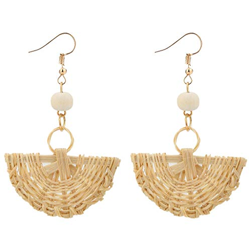 - XBKPLO Rattan Earrings for Women's Boho Retro Handmade Straw Wicker Braid Drop Sector Dangle Geometry Lightweight Jewelry Statement Gifts
