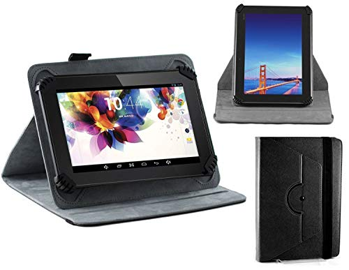 """Navitech Black Leather Case Cover with 360 Rotational Stand & Atlas Stylus Compatible with The Wallmart Onn 8"""" Android Tablet"""
