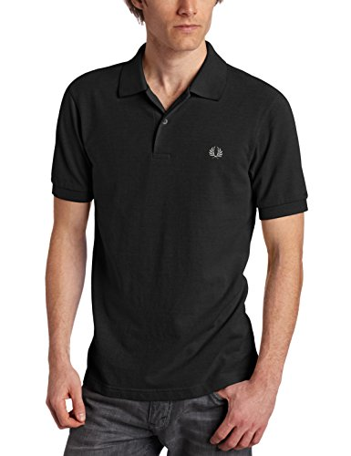 Fred Perry Men's Plain Polo, Black/Chrome, Small (Polo Fred Embroidered Shirt Perry)
