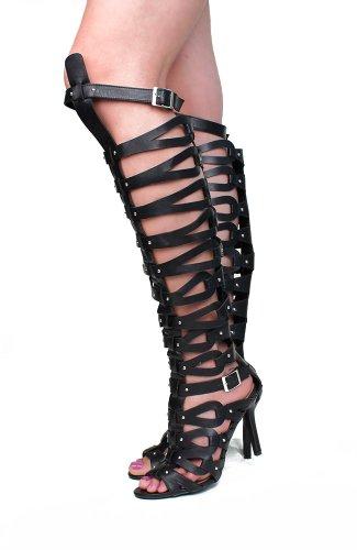 Breckelle Diva-31 Pomegranate Black Tan Strappy Studded Gladiator Knee High Heel Black ZaTVb2p
