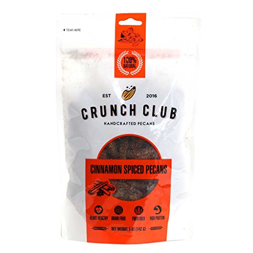 Crunch Club, Handcrafted Cinnamon Spiced Pecans 100% Natural | Fiber Rich | High Protein (5 ounce ()
