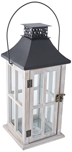 Darice YT8710L Lantern Wood White Wash 6.3X15.75In