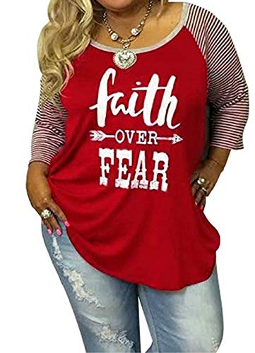 Women's Plus Size Faith Over Fear Funny Christian Shirt Long Sleeve Striped Patchwork Tops Tees Size L (Red)