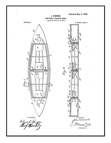 Portable Folding Boat Patent Print Black Ink on White with B