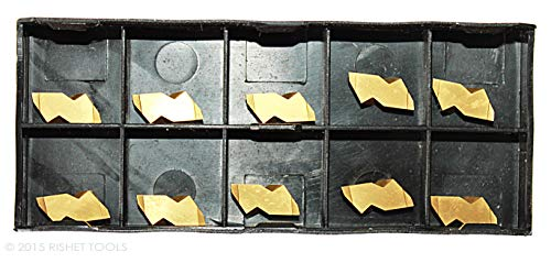 RISHET TOOLS 16742 NG-2031R C5 Multi Layer TiN Coated Grooving Carbide Inserts (Pack of 10)