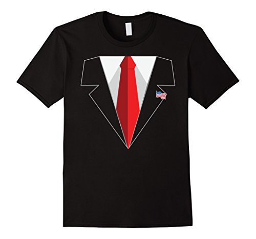 President Donald Trump Suit and Red Tie with American Flag Lapel Pin Black T-Shirt