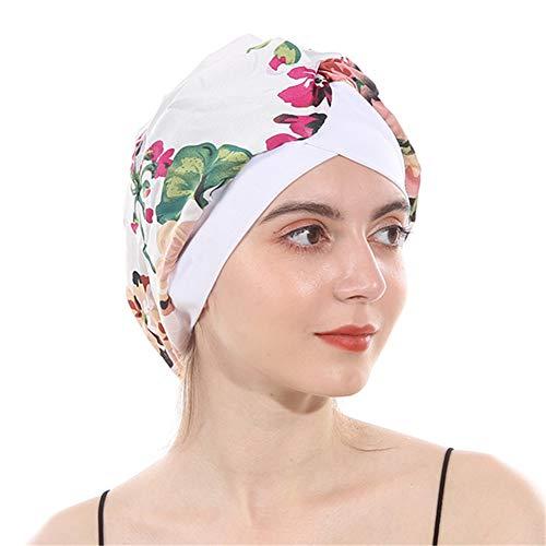 DuoZan Women's Soft Silky Satin Turban Elastic Wide Band Satin Bonnet Night Sleep Hat Hair Loss Cap (White Flower)]()