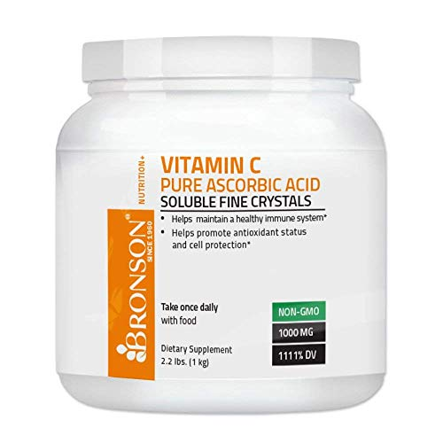 Bronson Vitamin C Crystals (Powder) 1 Kilo, 2.2 Lbs, or 35.3 Ounces, GMO Free Ascorbic Acid Soluble Fine Crystals