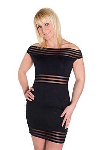HO-Case Ersoka mini vestido sin tirantes rayas Negro