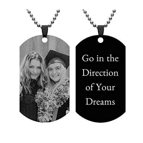 PiercingJ Personalized Custom Photo Picture Text Engraved Stainless Steel Dog Tags Necklace Message Pendant Customized Valentine