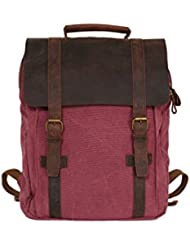 ROCKCOW Leather-Canvas Backpack Laptop Bag School Backpack Travel Bag Backpack