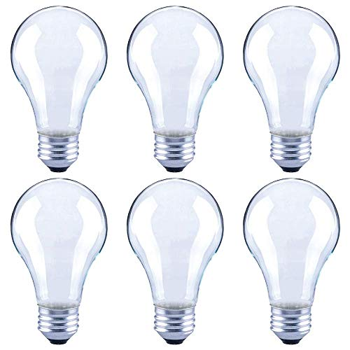 Asencia AN-03673 60 Watt Equivalent A19 Frosted All Glass Vintage Filament Dimmable LED Light Bulb, Daylight, 6-Pack, 5000K