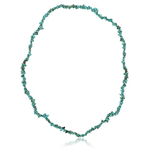 Gem Stone King 32 Inch Simulated Turquoise Chip Necklace 293 Carat - Turquoise Wrap Necklace Bead