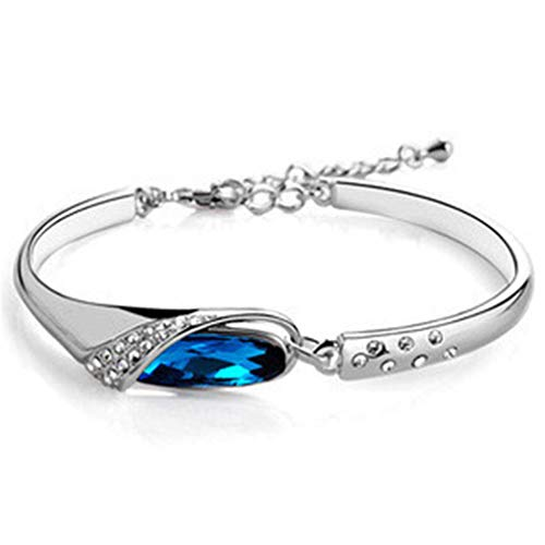Hotesea Women Multicolor Rhinestones Bangle Bracelet Crystal Alloy Jewelry for Women Wedding Gifts Blue ()
