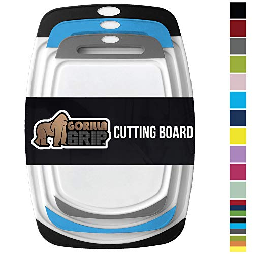 Gorilla Grip Original Reversible Cutting Board, 3 Piece, BPA Free, Dishwasher Safe, Juice Grooves, Larger Thicker Boards, Easy Grip Handle, Non Porous, Extra Large, Set of 3, Black, Aqua, Gray