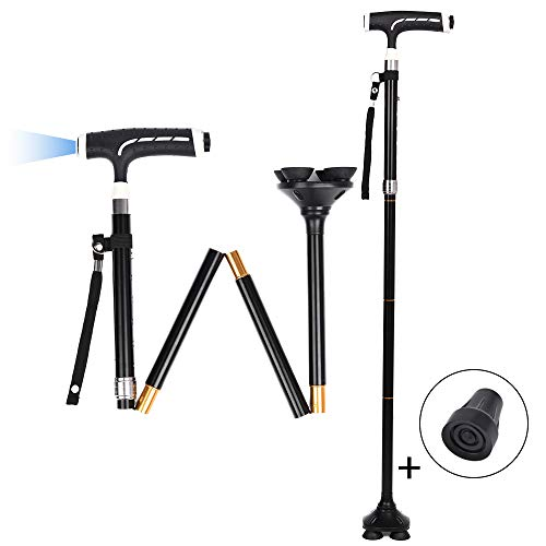 - SOEKAVIA Folding Walking Cane with LED Light, Foldable Walking Stick for Men/Women, Prvoting Quad Base - Lightweight, Adjustable, Portable and Stable Walking Aid