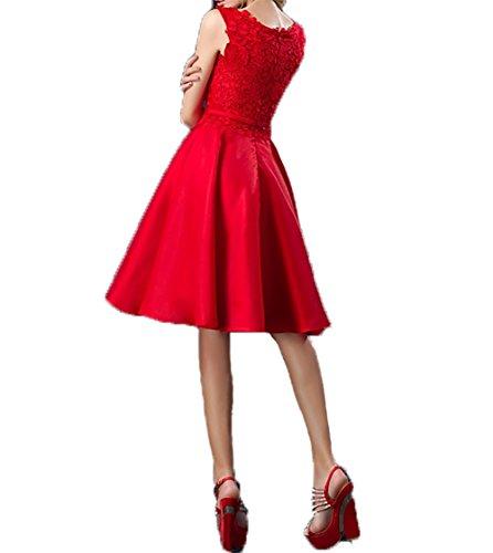 Damen Abendkleider Kurz Spitze Pink A Partykleider Charmant Linie Jugendweihe Knielang Festlichkleider Kurzes Kleider OdgqqxF