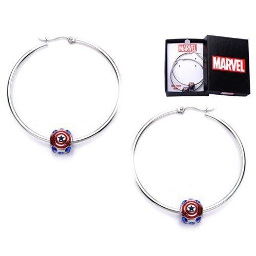 Marvel Captain America Logo Bead Hoop Stainless Steel Earrings