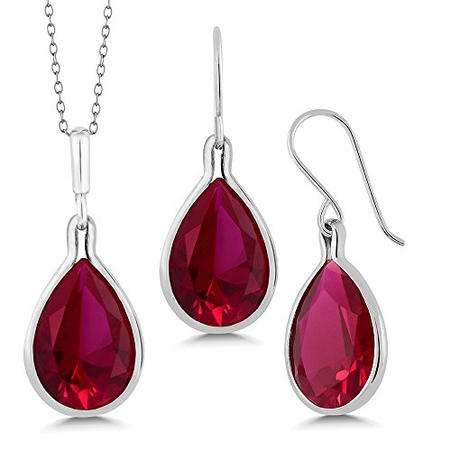 27.30 Ct Pear Shape Red Created Ruby 925 Sterling Silver Pendant & Earring Set ()
